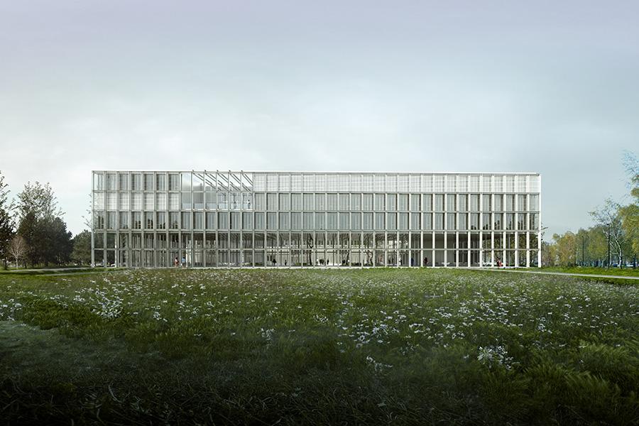 SCL-CAB ARCHITECTES - ENSAE ParisTech à Saclay - 2016E GENERALE DEPUIS LE GRAND JARDIN SUD